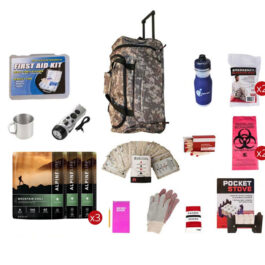 Food Storage Survival Kit with CAMO Wheel Bag